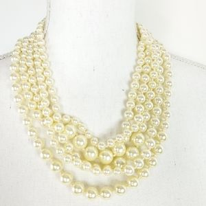 J.Crew Ivory Faux Pearl Multilayer Necklace
